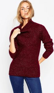 Read more about Asos premium rib stitch jumper in mohair with funnel neck - berry
