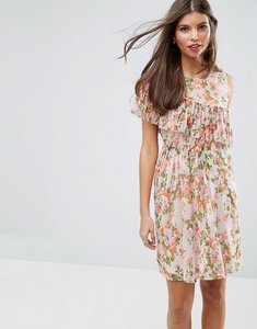 Read more about Asos sleeveless pleat ruffle tea dress in pretty floral print - multi