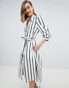 Read more about Selected femme stripe midi dress with tie waist - multi