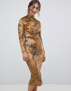 Read more about Hope ivy long sleeve velvet midi dress with knot front detail in bird print - ochre print