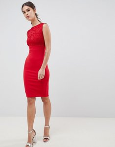 Read more about City goddess sleeveless lace midi dress - red