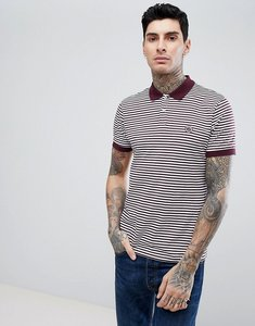 Read more about Pretty green slim fit feeder stripe polo in burgundy - burgundy