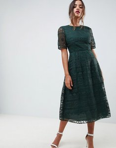 Read more about Asos design premium lace midi dress - forest green