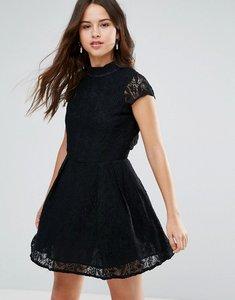 Read more about Louche nichole high neck lace dress - black
