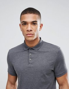 Read more about Asos jersey polo in grey - charcoal marl