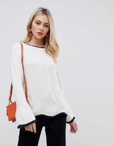 Read more about Stella morgan trumpet sleeve jumper with contrast hem - cream