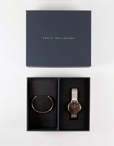Read more about Daniel wellington mesh watch bangle gift set in rose gold - rose gold
