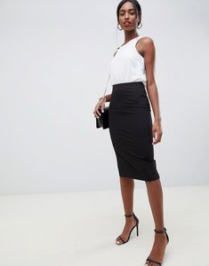 Read more about Asos mix match high waisted pencil skirt with split - black