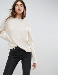 Read more about Asos jumper in fluffy yarn with crew neck - oatmeal