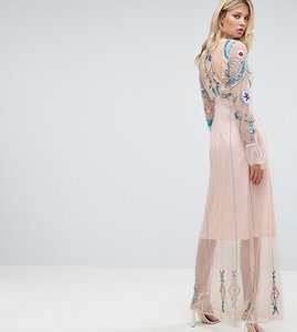 Read more about Frock and frill tall floral embroidered mesh maxi dress with gathered cuff and open back detail - bl