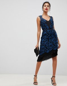 Read more about Lipsy allover lace bodycon dress with frill hem in print