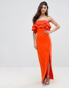 Read more about Club l bandeau frill maxi dress with ruffle asymetric split - red orange