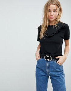 Read more about Glamorous frill detail t-shirt - black