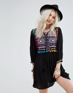 Read more about Glamorous smock dress with mirror embroidery and pom pom trim - black