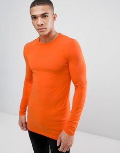 Read more about Asos design longline muscle fit t-shirt with long sleeve in orange - puffins bill