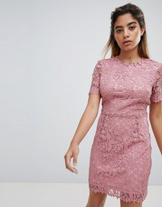 Read more about Fashion union mini dress in delicate lace - pink lace