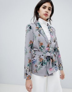 Read more about Soaked in luxury floral suit jacket - medium grey