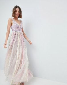 Read more about Needle thread maxi dress with embellishment and frill neck detail - rainbow