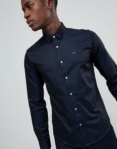 Read more about Emporio armani slim fit two tone sateen shirt in navy - navy