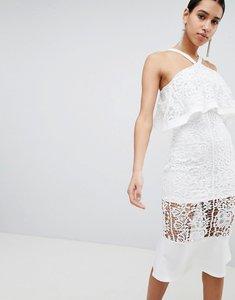 Read more about Club l crochet peplum hem dress - white