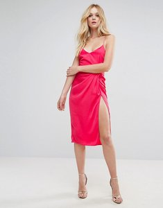 Read more about Asos hammered satin strappy pencil midi dress - pink