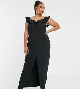 Read more about Vesper curve bardot maxi dress with frill in black