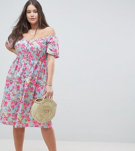 Read more about Asos design curve ultimate off shoulder ruffle midi sundress in vintage floral - multi