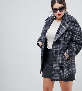 Read more about Helene berman plus yummy mummy wool blend check coat - grey pink check