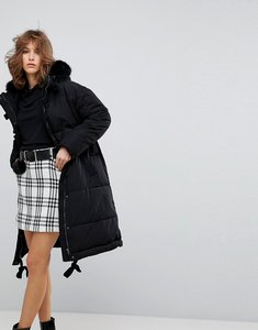 Read more about Lost ink oversized padded jacket with faux fur hood - black