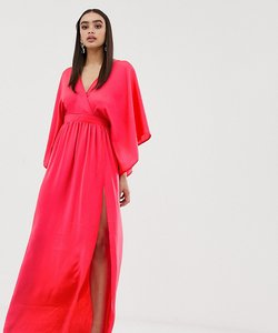 Read more about Flounce london wrap front kimono maxi dress with thigh split - bright coral