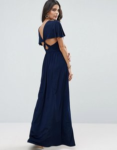 Read more about Asos kimono cross back maxi dress with side splits - navy