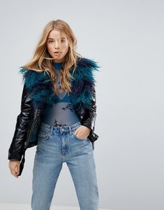 Read more about Minkpink midknight fur lined biker jacket with faux fur - black