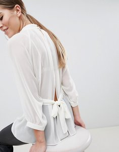 Read more about Asos design sheer belted blouse with open back - ivory