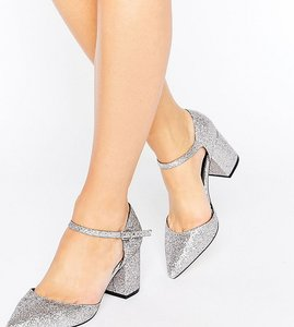 Read more about Asos soraya wide fit pointed glitter heels - glitter