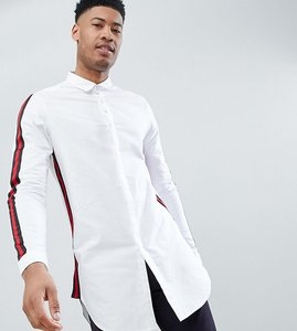 Read more about Asos design tall regular fit super longline shirt with taping - white