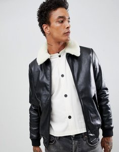 Read more about Asos faux leather bomber jacket with faux shearling collar - black
