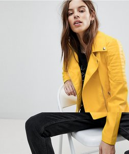 Read more about Noisy may rebel biker jacket - yellow