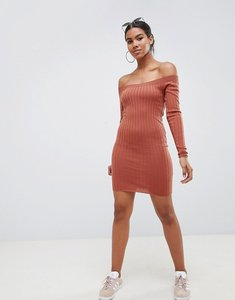 Read more about Asos design off shoulder dress in rib knit - camel