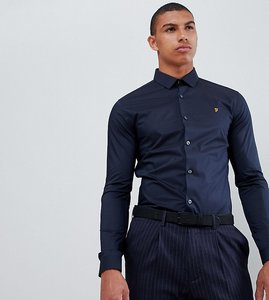 Read more about Farah swinton skinny smart poplin shirt with stretch in navy - navy