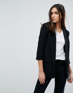 Read more about Warehouse rouched sleeve tailored blazer - black