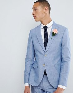 Read more about Moss london skinny linen wedding suit jacket in blue - blue