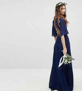 Read more about Tfnc lace up back maxi bridesmaid dress with flutter sleeve - navy