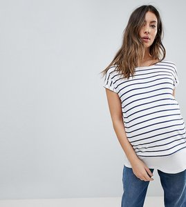 Read more about Asos maternity nursing t-shirt with crew neck double layer in stripe - white navy