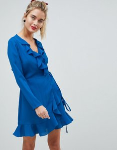 Read more about Asos ruffle wrap mini dress - cobalt blue