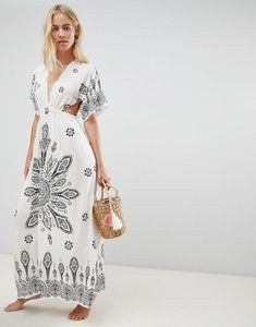 Read more about Asos design placement bandana print kimono plunge maxi beach dress - bandana print