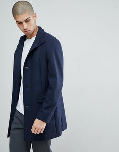 Read more about Selected homme funnel neck wool mix overcoat - saphire herringbone