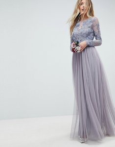 Read more about Asos wedding embroidered mesh maxi dress - powder blue