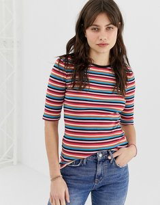 Read more about Maison scotch rainbow ripped stripe t-shirt - 18 combo b