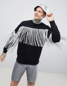 Read more about Asos design festival oversized sweatshirt in black with silver fringe - black
