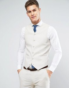 Read more about Asos wedding super skinny suit waistcoat in stone stretch linen cotton - putty